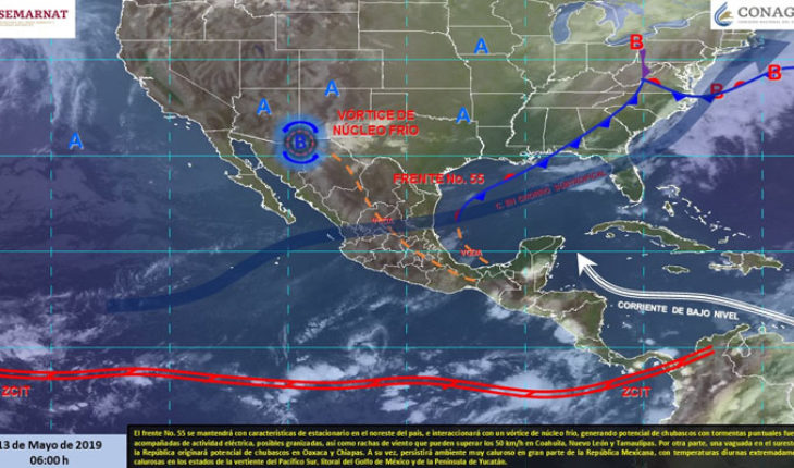 Storms in northern Mexico, showers in Oaxaca and Chiapas, very hot atmosphere in the rest of the country