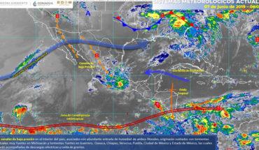 Tormentas muy fuertes en Michoacán y fuertes en zonas del centro, oriente y sur de México