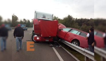 Crash cargo truck and compact car