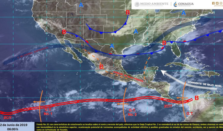Intense thunderstorms with electrical activity in Michoacan, Tabasco and Chiapas