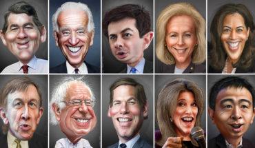 Participantes en las primarias del Partido Demócrata de Estados Unidos para elegir al candidato a la presidencia en 2020. Foto: DonkeyHotey (CC BY-SA 2.0)