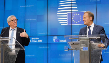 La política migratoria de la UE . Jean-Claude Juncker, presidente de la Comisión Europea, y Donald Tusk, presidente del Consejo Europeo, en la rueda de prensa del pasado consejo del 20 de junio. Foto: ©European Union. Blog Elcano