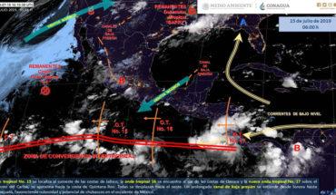 Tormentas muy fuertes en el sur e intensas en el occidente de México