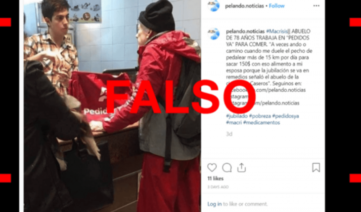 """The story behind the photo of the """"grandfather"""" delivery man of PedidosYa"""