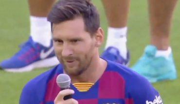 Messi volvió al Camp Nou con un encendido discurso en busca de la Champions con Barcelona