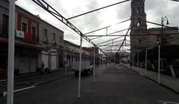 Morelia Town Hall installs awnings for traditional verbena popular homeland