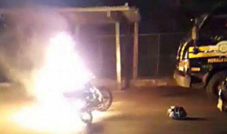 He tested positive for alcotest and rage set his bike on fire