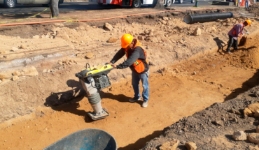 In progress, construction of water infrastructure and paving on the side of Madero Avenue
