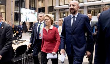 Llegada de Ursula von der Leyen, presidenta de la Comisión Europea, y Charles Michel, presidente del Consejo Europeo, al Consejo Europeo extraordinario sobre el presupuesto de la UE. Foto: Etienne Ansotte / ©European Union, 2020. EC – Audiovisual Service. Blog Elcano