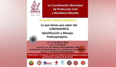 """Ayuntamiento de Morelia impartirá charla, """"Lo que tienes que saber del CORONAVIRUS"""""""