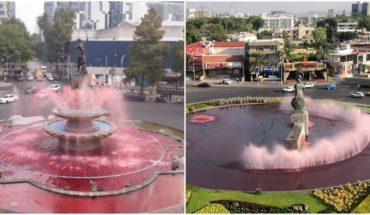 Tiñen de rojo las fuentes La Minerva, en Guadalajara y la Diana en CDMX (Video)
