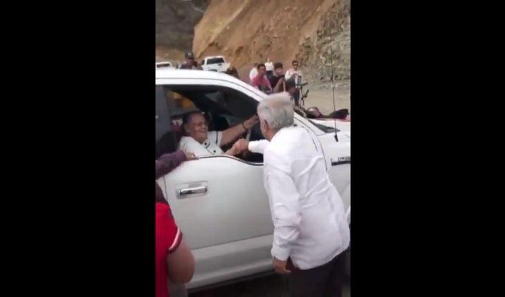 AMLO greets The Chapo's mother in Badiraguato