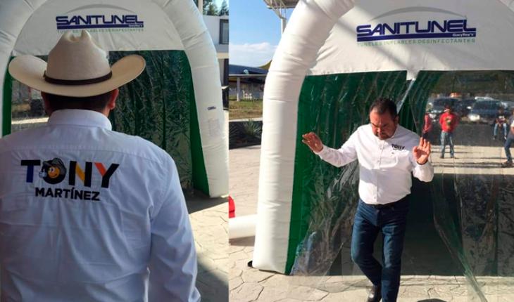 Diputado de Michoacán coloca túneles sanitizantes; estos no son aprobados por la Secretaria de Salud
