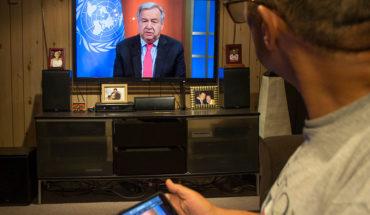 El secretario general de Naciones Unidas António Guterres durante el encuentro virtual con la prensa para pedir un alto al fuego mundial durante la pandemia del coronavirus (COVID-19) (23/3/2020). Foto: UN Photo/Eskinder Debebe. Blog Elcano