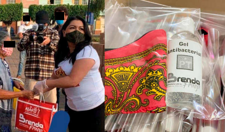 With logo and name, DEPUTY of the PT distributes pantries in Uruapan, Michoacán