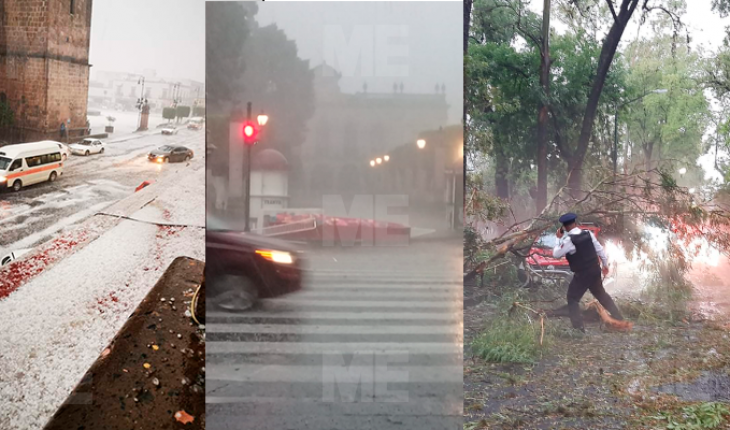 """Árboles, autos y un letrero de """"Morelia""""; afectados por la fuerte granizada"""