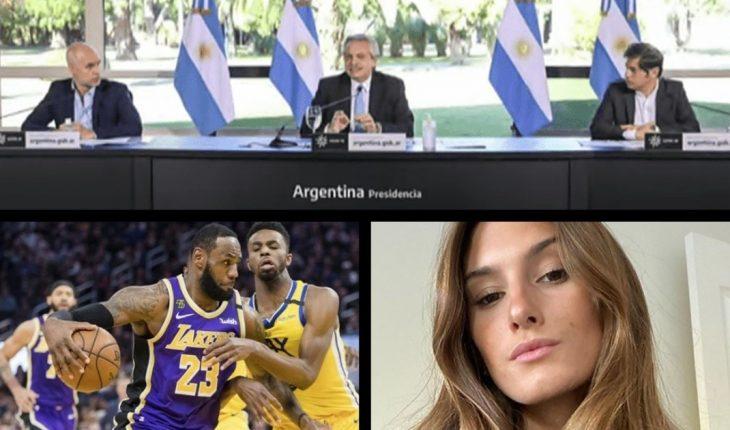 Fernández anunció la extensión de la cuarentena, qué es el AMBA, la NBA confirmó 16 jugadores positivos de coronavirus, día del Orgullo LGBTIQ+, Lola sobre Yanina Latorre, y más...