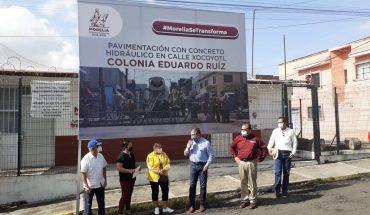 Inicia pavimentación de calle Xocoyotl de Morelia