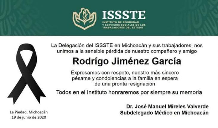 ISSSTE mourns the death of Dr. Rodrigo Jiménez; invites you not to let your guard down before Covid-19