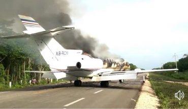Aeronave incendiada provenía de Sudamérica; asegura Ejército 390 kg de coca