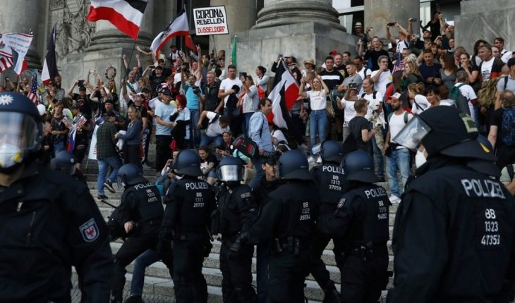 In Germany, police dispersed an anti-quarantine demonstration