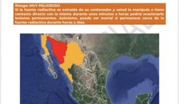 Alerta por robo de fuente radioactiva en Sonora