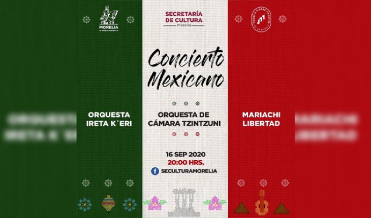 Invita la Secretaría de Cultura de Morelia al Concierto Mexicano Virtual