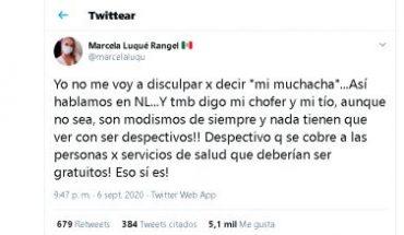 """Senadora de MC llama a empleada doméstica como """"mi muchacha"""""""