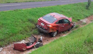 Vuelca automóvil en la Morelia-Pátzcuaro; no hay heridos