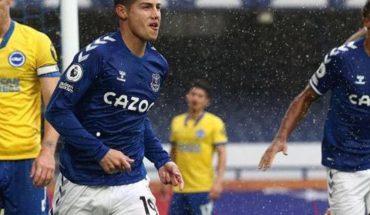 Un Doblete de James Rodríguez guía la goleada del Everton