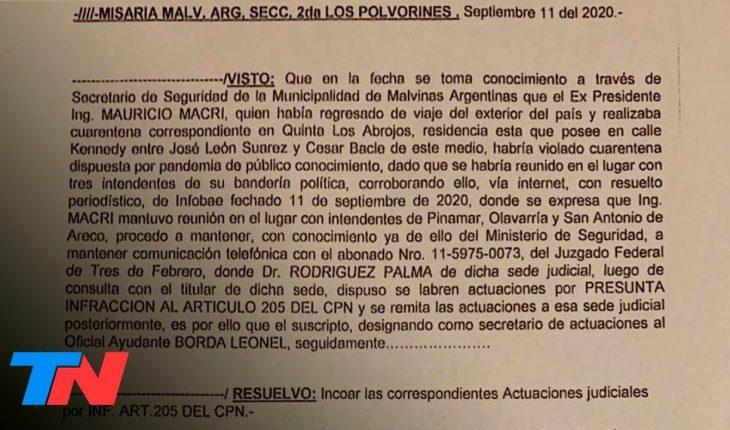 Esta es la denuncia contra Macri por la violación de la cuarentena