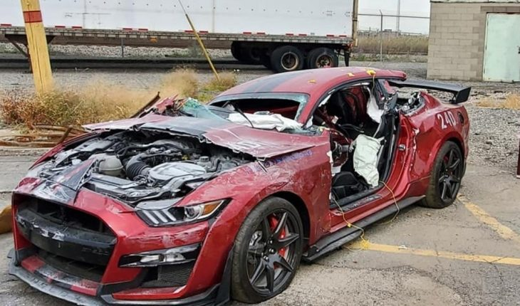 A Ford Mustang was destroyed in a fire training