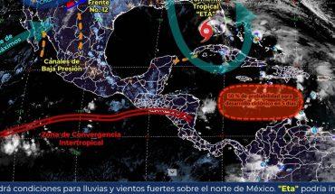 Frente Frío No. 12 generará fuertes lluvias