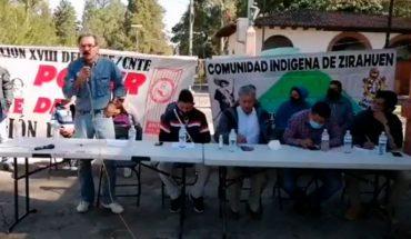 Pueblos indígenas apoyan toma de vías férreas por integrantes del magisterio michoacano
