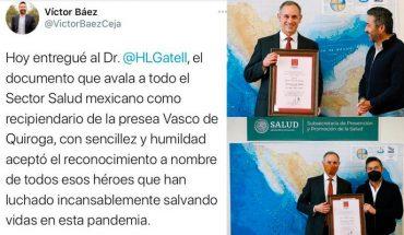 Edil de Pátzcuaro Víctor Báez, goes to the CDMX to deliver presea to Hugo López-Gatell
