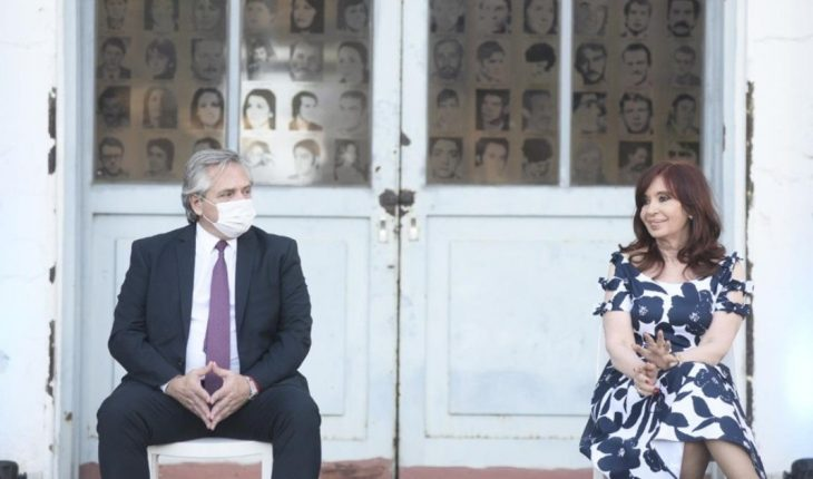 Alberto Fernández and Cristina Kirchner meet at an event at the former ESMA