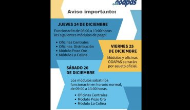 OOAPAS remembers its opening hours for the holiday season