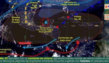 Frente Frío No. 37 generará fuertes vientos