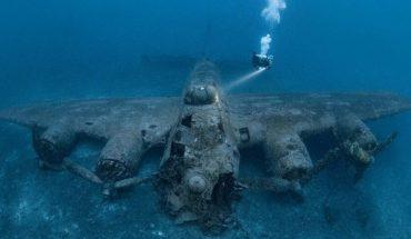 Buzo logró fotografiar un avión de la Segunda Guerra Mundial en el fondo del mar