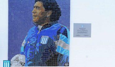Racing Club inauguró un mural de Maradona en mosaico en el Cilindro