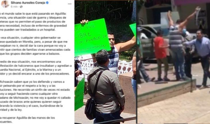 """Silvano Aureoles justifica su actuación en Aguililla y calificó a manifestantes como """"halconeros"""""""