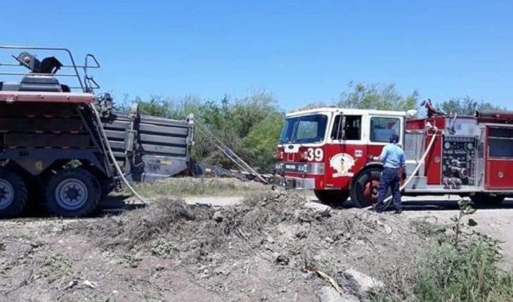 Alarma incendio en predio agrícola en ejido Louisiana, Ahome