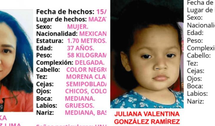 Buscan a madre e hija desaparecidas en Mazatlán