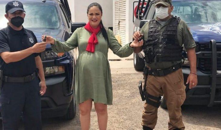 Entrega Aglaee Montoya patrullas a la Dirección de Seguridad Pública