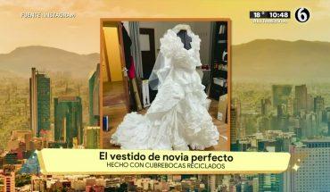Crean vestido de novia con cubrebocas reciclados | La Bola del 6