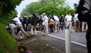 Guardia Nacional impide paso de caravana migrante; hay 80 detenidos