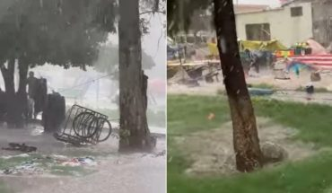 Storm with hail and prey destroy the tianguis in Gómez Palacio
