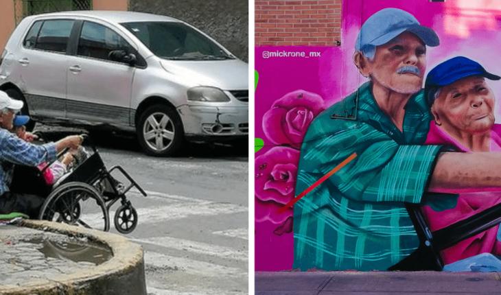 Artista urbano inmortaliza el amor de don Reyes y la señora Imelda