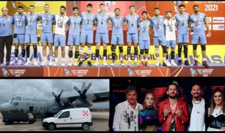 Sudamericano de vóley: Argentina logró la medalla de plata y clasificó al Mundial; Argentina envió ayuda humanitaria a Cuba para enfrentar la pandemia;  La Voz Argentina: a qué hora es la Gran Final y mucho más...